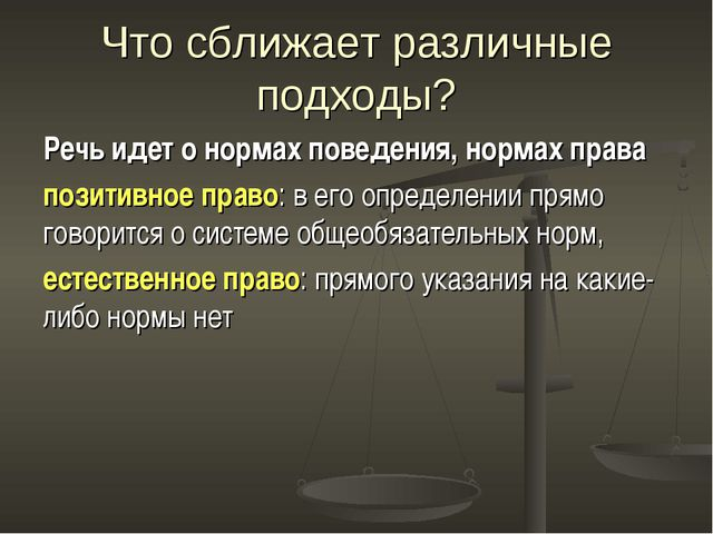 Что сближает различные подходы? Речь идет о нормах поведения, нормах права по...