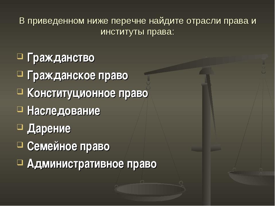 В приведенном ниже перечне найдите отрасли права и институты права: Гражданст...