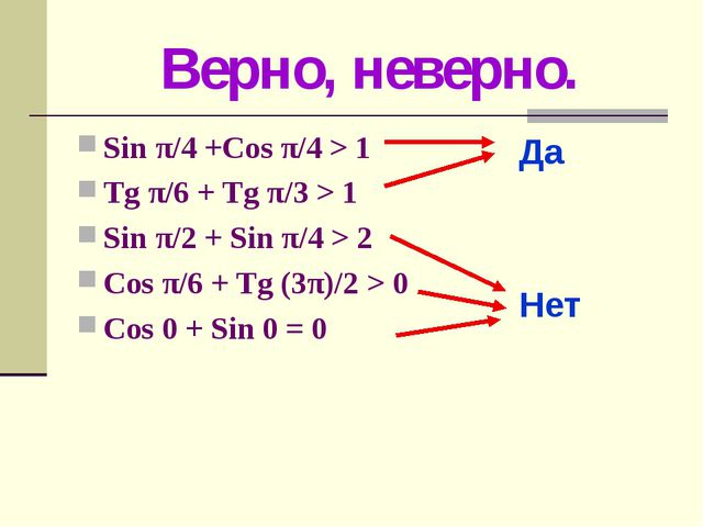 Верно, неверно. Sin π/4 +Cos π/4 > 1 Tg π/6 + Tg π/3 > 1 Sin π/2 + Sin π/4 >...