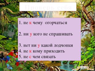 Проверь себя 1. не к чему огорчаться 2. ни у кого не спрашивать 3. нет ни у