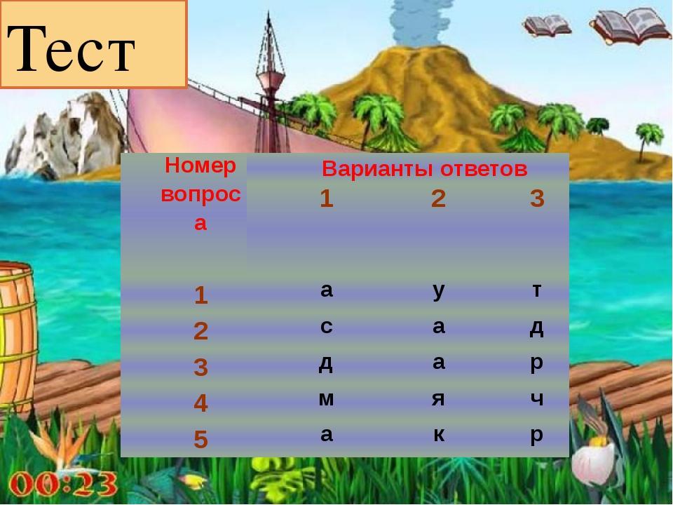 Тест Номер вопроса Варианты ответов 1 2 3 1 а у т 2 с а д 3 д а р 4 м я ч 5 а...