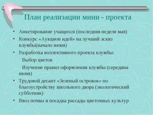 План реализации мини - проекта Анкетирование учащихся (последняя неделя мая)