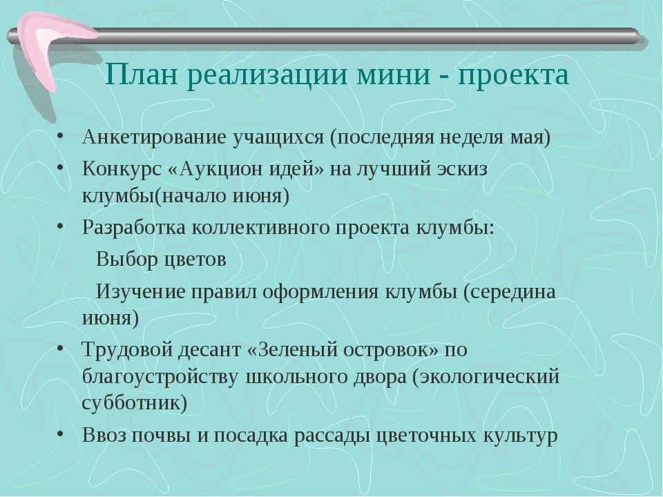 План реализации мини - проекта Анкетирование учащихся (последняя неделя мая)...