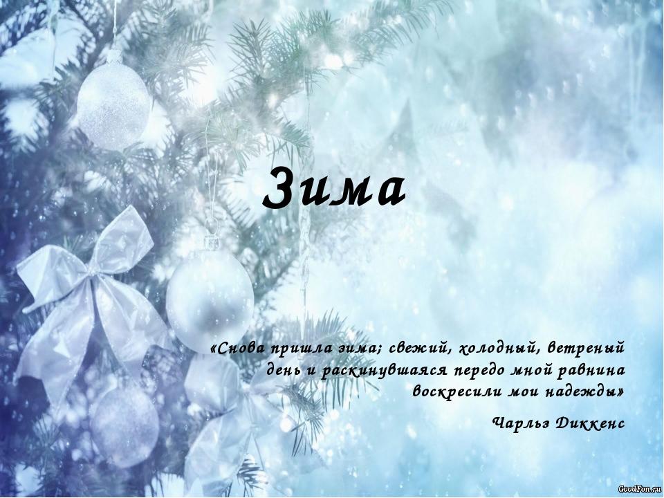 Зима «Снова пришла зима; свежий, холодный, ветреный день и раскинувшаяся пере...