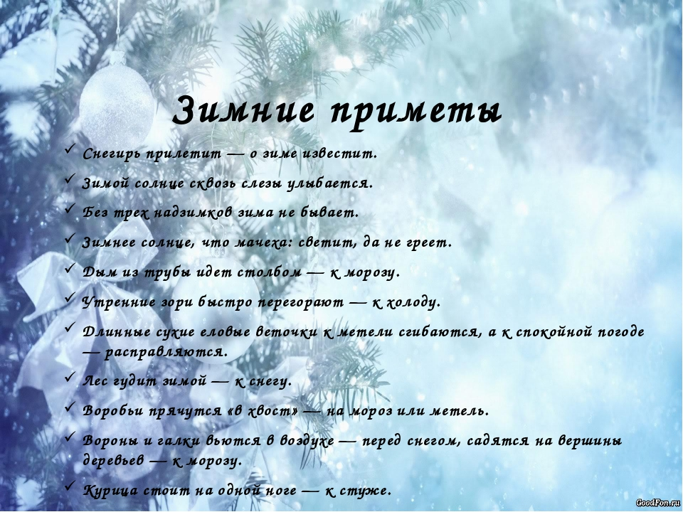 Зимние приметы Снегирь прилетит — о зиме известит. Зимой солнце сквозь слезы...