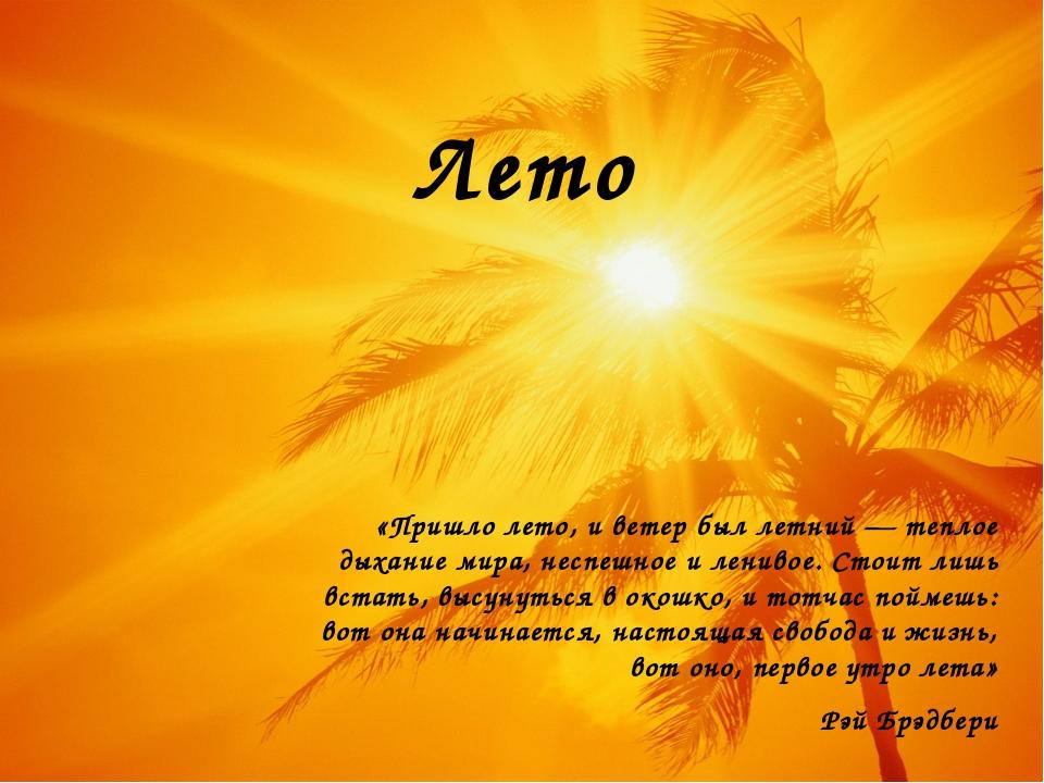 Лето «Пришло лето, и ветер был летний — теплое дыхание мира, неспешное и лени...