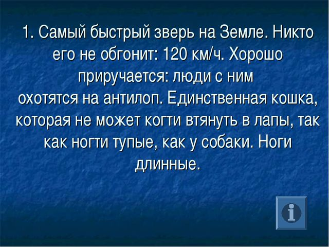 1. Самый быстрый зверь на Земле. Никто его не обгонит: 120 км/ч. Хорошо приру...