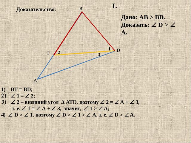 T D В А 2 1 Дано: АВ > BD. Доказать:  D > A. ВТ = BD;  1 =  2;  2 – вне...