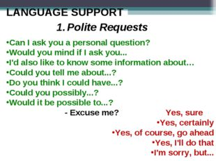 LANGUAGE SUPPORT 1.	Polite Requests Can I ask you a personal question? Would