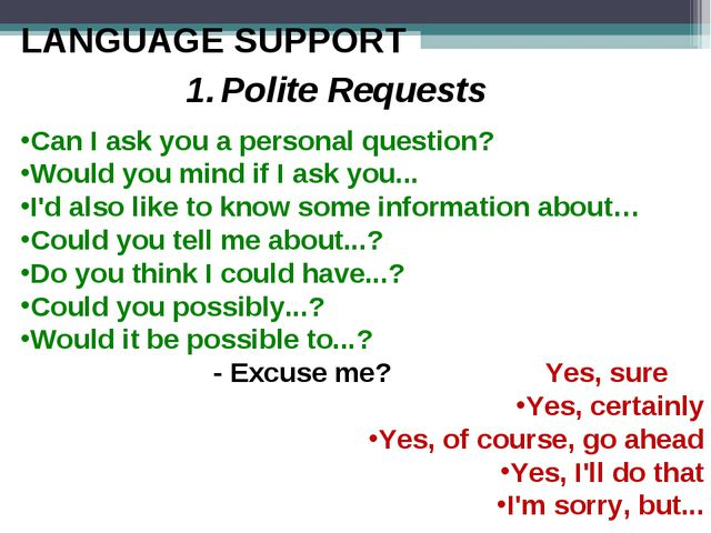 LANGUAGE SUPPORT 1.	Polite Requests Can I ask you a personal question? Would...