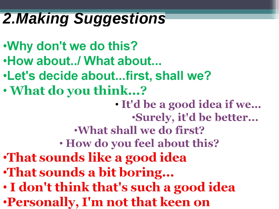 2.Making Suggestions