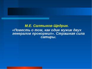 М.Е. Салтыков-Щедрин. «Повесть о том, как один мужик двух генералов прокормил