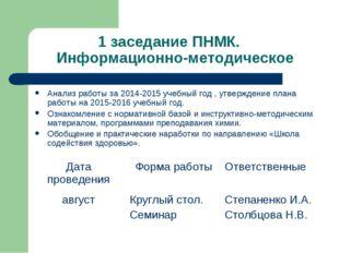 1 заседание ПНМК. Информационно-методическое Анализ работы за 2014-2015 учебн