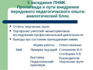 5 заседание ПНМК. Пропаганда и пути внедрения передового педагогического опыт