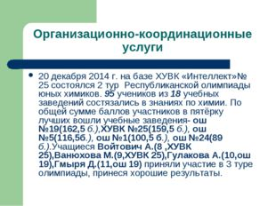 Организационно-координационные услуги 20 декабря 2014 г. на базе ХУВК «Интелл