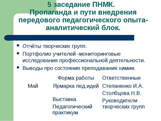 5 заседание ПНМК. Пропаганда и пути внедрения передового педагогического опыт...
