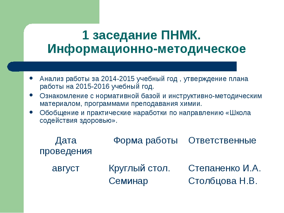 1 заседание ПНМК. Информационно-методическое Анализ работы за 2014-2015 учебн...