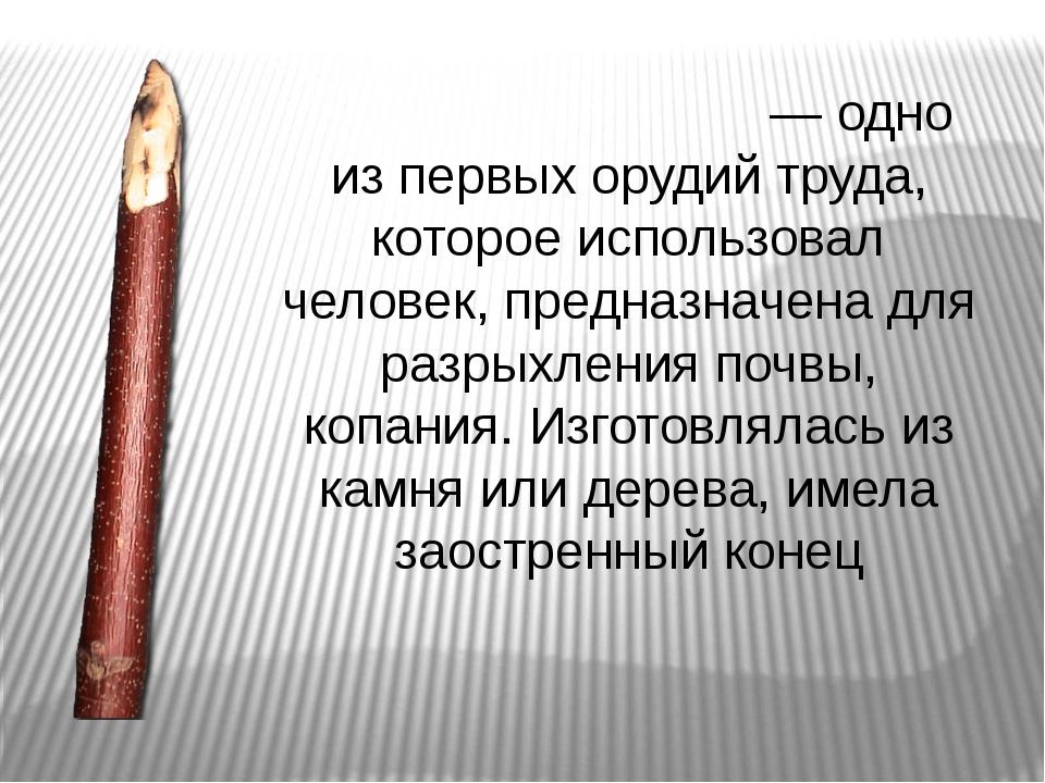 Па́лка - копа́лка— одно из первых орудий труда, которое использовал человек,...