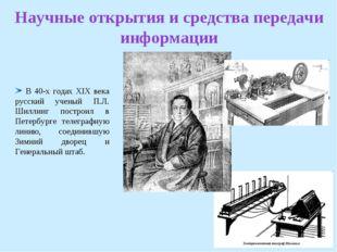 Научные открытия и средства передачи информации В 40-х годах XIX века русский