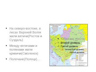 На северо-востоке, в лесах Верхней Волги жили вятичи(Ростов и Суздаль) Между