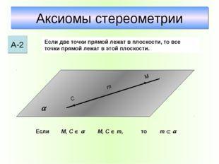 Аксиомы стереометрии А-2 Если две точки прямой лежат в плоскости, то все точк