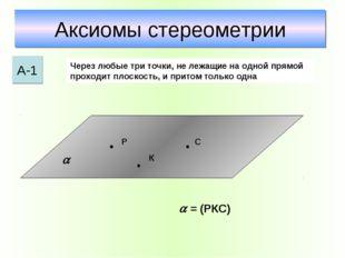 Аксиомы стереометрии А-1 Через любые три точки, не лежащие на одной прямой пр