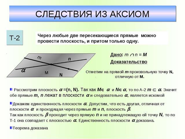 СЛЕДСТВИЯ ИЗ АКСИОМ Т-2 Через любые две пересекающиеся прямые можно провести...
