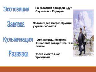 По базарной площади идут Очумелов и Елдырин Золотых дел мастер Хрюкин укушен
