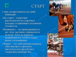 СТАРТ Старт осуществляется по трём командам: «На старт» - спортсмен располага