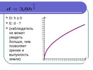D: h ≥ 0 E: d - ? (наблюдатель не может увидеть больше, чем позволяет зрение