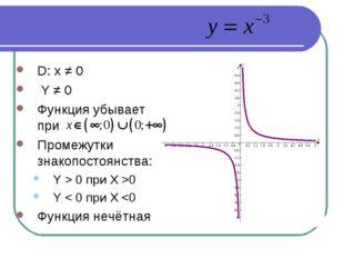 D: x ≠ 0 Y ≠ 0 Функция убывает при Промежутки знакопостоянства: Y > 0 при X