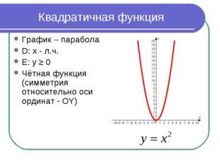 Квадратичная функция График – парабола D: x - л.ч. Е: у ≥ 0 Чётная функция (с