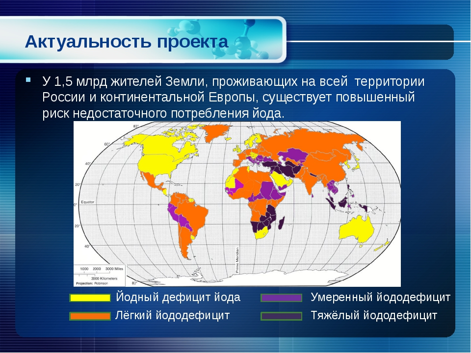 Актуальность проекта У 1,5 млрд жителей Земли, проживающих на всей территории...