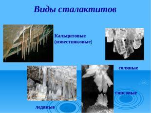 Виды сталактитов Кальцитовые (известняковые) соляные ледяные гипсовые