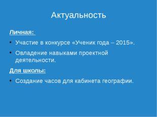 Актуальность Личная: Участие в конкурсе «Ученик года – 2015». Овладение навык