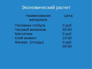 Экономический расчет Наименованиематериала Цена Половина глобуса 0 руб. Часов