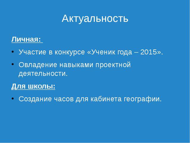 Актуальность Личная: Участие в конкурсе «Ученик года – 2015». Овладение навык...