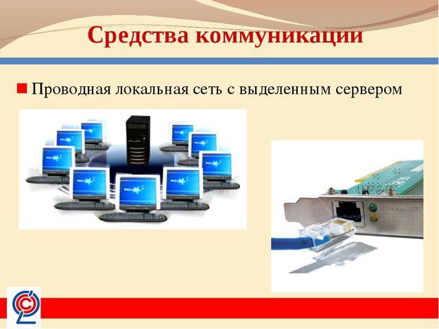 Средства коммуникации Проводная локальная сеть с выделенным сервером