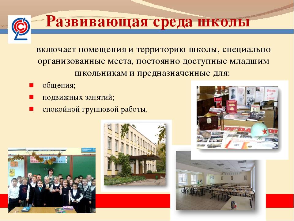 включает помещения и территорию школы, специально организованные места, пост...
