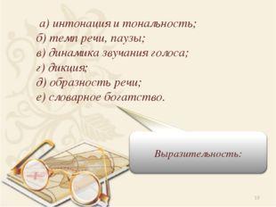 * а) интонация и тональность; б) темп речи, паузы; в) динамика звучания голос