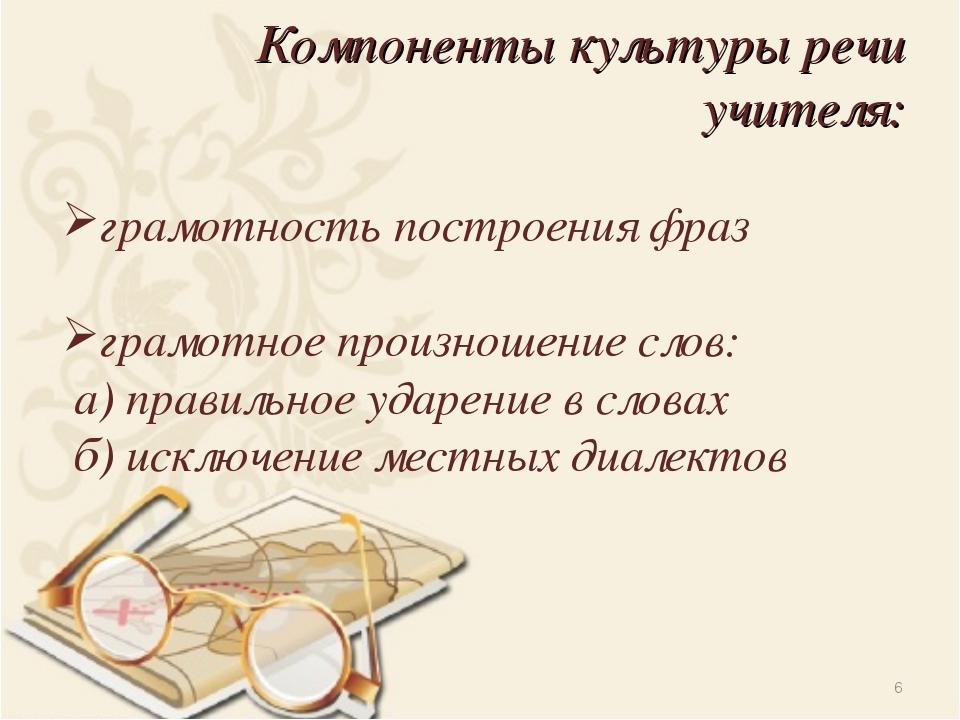 Компоненты культуры речи учителя: грамотность построения фраз грамотное произ...