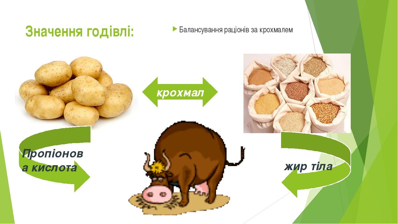 Значення годівлі: Балансування раціонів за крохмалем крохмал Пропіонова кисло...