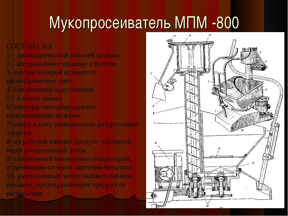 Мукопросеиватель МПМ -800 СОСТОИТ ИЗ: 1 – цилиндрической рабочей камеры 2 – к...