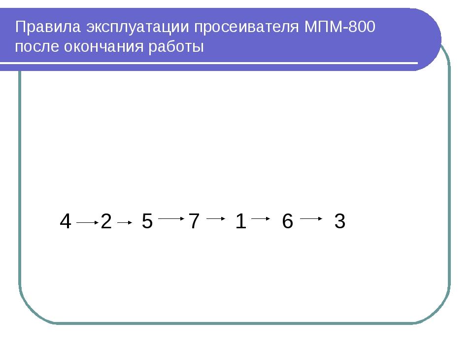 Правила эксплуатации просеивателя МПМ-800 после окончания работы 4 2 5 7 1 6 3