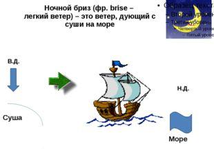 Ночной бриз (фр. brise – легкий ветер) – это ветер, дующий с суши на море В.Д