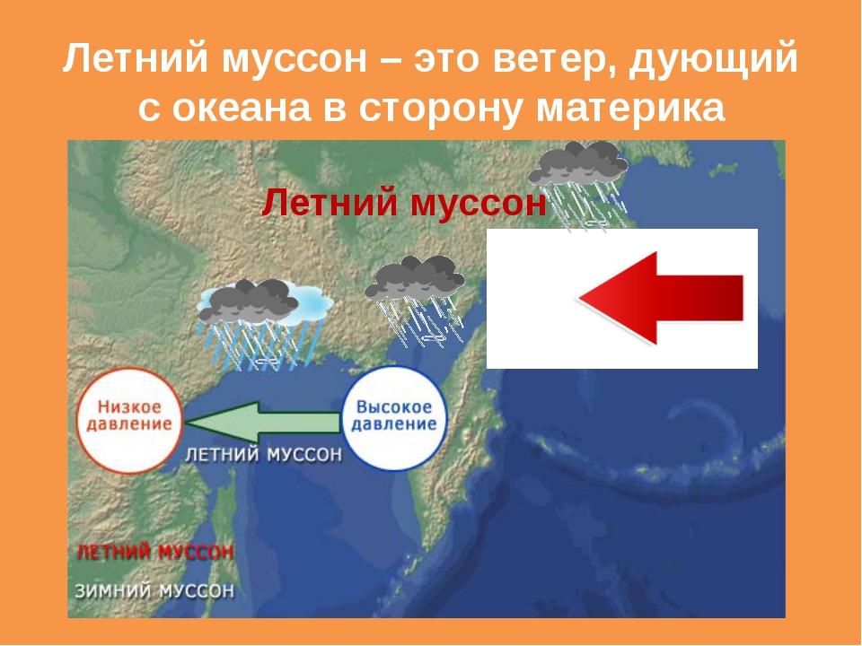 Летний муссон – это ветер, дующий с океана в сторону материка Летний муссон