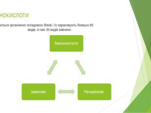 Амінокислоти являються органічною складовою білків і їх нараховують близько 8