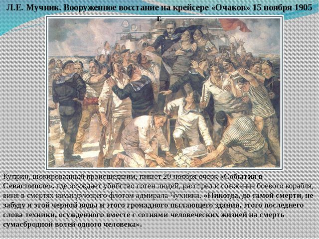 Куприн, шокированный происшедшим, пишет 20 ноября очерк «События в Севастопол...