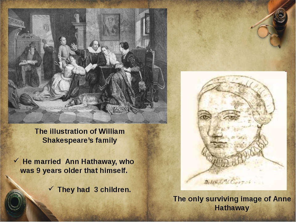 The illustration of William Shakespeare's family The only surviving image of...