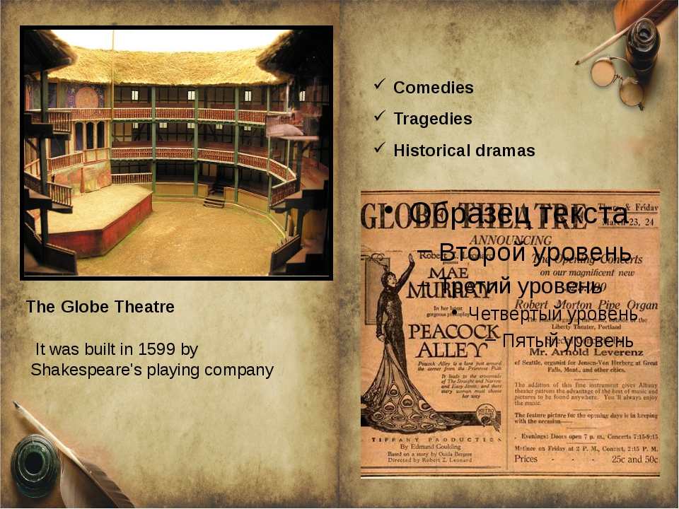 TheGlobe Theatre It was built in 1599 by Shakespeare'splaying company Come...